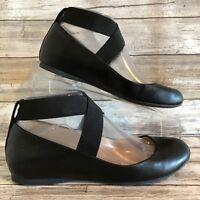 Jessica Simpson Hidden Wedge Ballet Flats 6.5M Mandayss Black Faux Leather