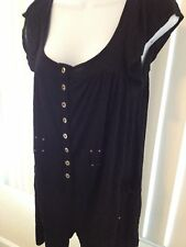 Womens French Connection Black Very Loose Fitted Romper Sz 8 Pockets Gold Button