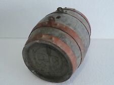 Antique 1939 year Staved WOODEN BARREL CASK KEG FLASK CANTEEN Iron Banded