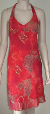 CITY TRIANGLES Floral Paisley Halter Cocktail Sun Dress Red Orange Size 5/6