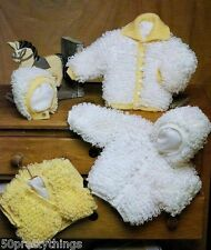 "Baby Knitting Pattern Double Knit LOOPY CARDIGAN JACKET BOLERO BONNET 16-24"""
