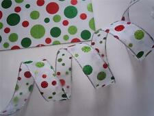 5yd Sparkle Red Green Polka Dots Sheer White Wire Ribbon Christmas Wreath Bow