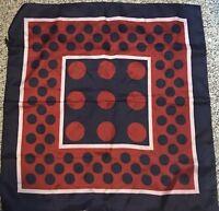 """Vintage Red White Blue Polka Dot Stripe Color-Block Scarf 26"""" Japan Hand rolled"""