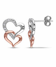 Two-tone Silver Diamond Accent Double Heart Earrings
