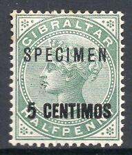 GIBRALTAR 1889 M/M SG15 5c on 1/2d Green Specimen