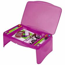 Portable Lap Desk Lap Tray Laptop Table Box Storage Kids Room School Home Pink