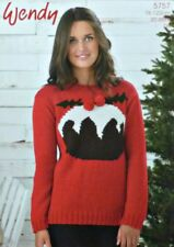 KNITTING PATTERN Ladies Long Sleeve Christmas Pudding Jumper DK 5757 Wendy