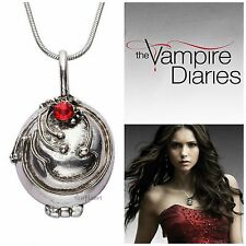 Vampire Diaries Elena Gilbert Antique Silver Locket Necklace Pendant UK Seller