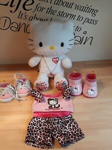 build a bear hello kitty 35th Anniversary bear with Necklace Wellies shoes pjs