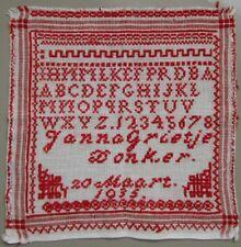 1935 RED DUTCH NEEDLEWORK ALPHABET SAMPLER CROSS STITCH 'JANNA GRIETJE DONKER'