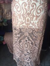 Beaded Fabric-Embroidery on Polyester Mesh Wedding Dress Blush Pink By The Yard
