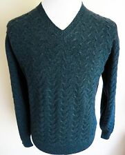 $1780 NWT BRIONI Teal Thick 100% Cashmere Vneck Cable Knit Sweater Size Large