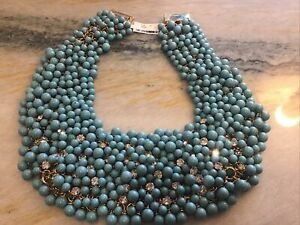 New W Tags Neiman Marcus Turquoise Crystal Bib HUGE heavy Necklace