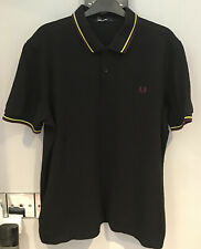 :Fred Perry : Twin Tipped Polo Shirt ( L - Slimmer Fit ) Black