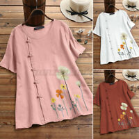 ZANZEA Women Holiday Cotton Short Sleeve O-Neck Tops Retro Printed Shirt Blouse