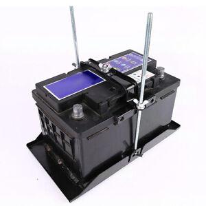 19cm Universal Metal Car Battery Tray Adjustable Hold Down Clamp Bracket Kit x1