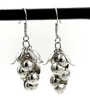 Grape Cluster French Wire Earrings Vintage .925 Sterling Silver Dangling