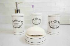 Beautiful Rose 4 Piece Dolomite Bath Accessory Set (White) Perfect Gift & Decor