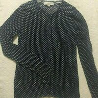 Ann Taylor Loft cardigan M light weight navy blue white polka dot button down