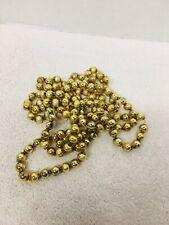 "Vintage Bigger Gold Mercury Glass Bead Christmas Garland 87"" of 1/2"" Beads"