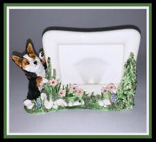New ListingSonnett Orig. Sculpture ~ Tri-color Corgi Ceramic Tabletop Picture Frame ~ Ooak!