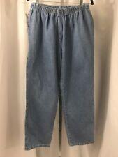 Women Woman Within Plus Size 16WP Light Blue Jeans Pants Elastic Pockets