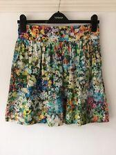 Zara Woman Green and Blue Watercolour Floral Print Tulip Mini Skirt, UK Size 8
