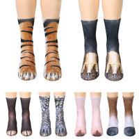 Novelty Unisex 3D Printed Animal Paw Hoof Tube Crew Cotton Stretchy Adult Socks