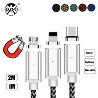1M 2M Magnetic Charge Cable Micro USB Type C Data Sync For iPhone Android LG Lot