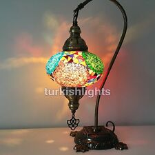Stunning Handmade Swan Neck Turkish Moroccan Mosaic Lamp,  LARGE GLOBE