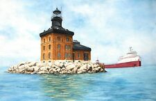 Set of Four Reproductions of Watercolor Paintings of Great Lakes Lighthouses