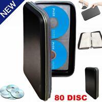 80 Disc Sleeves CD DVD Carry Case Bag Holder Wallet Storage Ring Binder Book US