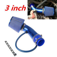 Alumimum 3'' 75mm Car SUV Blue Cold Induction Air Intake Pipe Kit + Air Filter