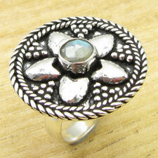 6 ! Silver Plated Metal Jewelry Wonderful Labradorite Ancient Style Ring Size