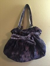 Soft Suede Drawstring Satchel Purse PURPLE with Bow NWT