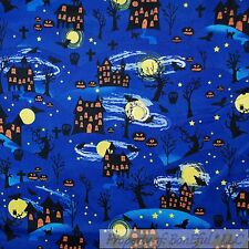 BonEful Fabric Cotton Quilt Blue Scenic Halloween House Skull Pumpkin Star SCRAP