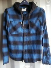 New Man Blue Black Distressed Cotton Shirts with Hood ex High-street Size: S-XXL