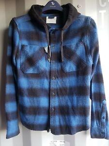 New Man Blue Black Distressed Cotton Shirts with Hood ex High-street Size: S-XXL