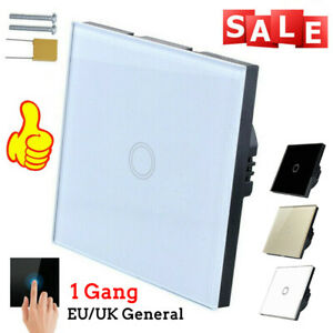LED Light Smart Touch Screen Wall Switch 1 Way 1 Gang Crystal Glass Panel EU/UK