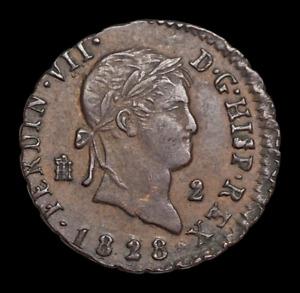 SPAIN. Ferdinand VII, 2 Maravedis, 1828, Nice grade