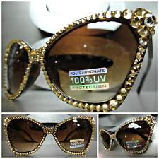 CLASSIC VINTAGE RETRO CAT EYE SUN GLASSES Tortiose  Frame Handmade Gold Crystals