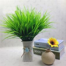 10Pcs Artificial Plant Fake Green Plastic Grass Wedding Party Garden Decor US