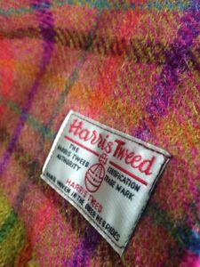Harris Tweed Scarf Orange Purple Pink Coral Teal Yellow Aubergine Check Wool