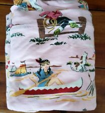 Nick & Nora Pink Western  Retro Cowgirl & Indians Twin Flat Fitted Sheet