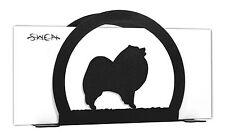 Swen Products Keeshond Dog Black Metal Letter Napkin Card Holder