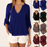 Ladies Womens Long Sleeve Loose Blouse Casual Shirt Summer Chiffon Tops T-Shirt