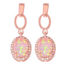 Pink Fire Opal Zircon Rose Gold Filled for Women Jewelry Stud Earrings OH4321