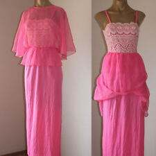 SASSY! VINTAGE LOLLY PINK BUTTERFLY BATWING MAXI PARTY DRESS 10