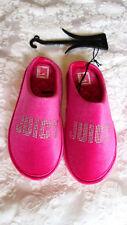 JUICY COUTURE 'GLORIACRYSTAL' Sz Small Pink Velvet Rhinestone Logo SLIPPERS NEW