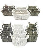 White Grey Shabby Chic Wicker Kitchen Fruit Storage Baskets Xmas Hamper Basket